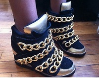 2014 women sneakers The Almost Chain Sneakers in Black Suede Gold Chunky wedges sneaker shoe for women