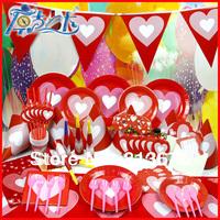 Happy birthday Free shipping 90 pcs birthday party decotations Heart theme kids birthday party supplies