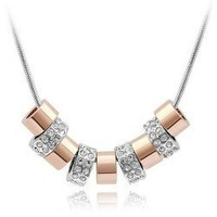 Factory Price Top Quality white gold plated crystal fashion necklace jewelry Bling Bling 4H061