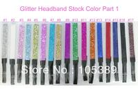 24pcs 12 Color Elastic Glitter headband Snap Black HairBand Baby Hair Circle Band Hair Ribbon Headwrap