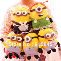 "Free Shipping Despicable Me Plush Toy 5PCS Minions 9"" Movie Figures Great Stuffed Animal Doll Dave Jorge Stewart Apron dress"