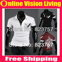 Free Shipping Top Brand 2014 New Men's Clothing Casual men Shirt Eagle Print Short-sleeve Man POLO Shirts M/L/XL/XXL A137
