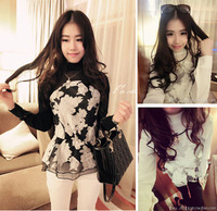 2014 Korean version of the new spring fashion ladies temperament Slim lady flower pattern chiffon shirt blouse