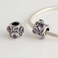100% 925 Sterling Silver Charm Beads Jewelry with Amethyst Purple Cabochon Crystal,suitable For pandora Bracelet Jewelry XS220B
