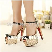 Free shipping 2014 women high square heel platform pump shoes big size lace women pumps summer