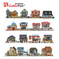 2014 new cubic fun 3D puzzle jigsaw world village construction 24 styles 10pcs/lot kids educational toy free shipping