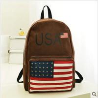 women backpack school backpacks Rivets the stars and stripes printing backpack