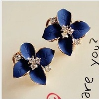 Stud earring female fashion navy blue vintage fashion gem silver earrings fashion accessories