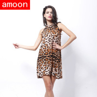 Amoon / Women New Spring Summer Sexy Casual Ice Cotton Leopard Print Dress /Free Shipping /Plus Size /Brown Colors /Sleeveless