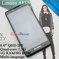 """Original Lenovo A880 MTK6582m Quad-core 1.3G Multi language Android 4.2 Dual-SIM WCDMA 6.0""""IPS 1G RAM+8GB ROM Free Gift Shipping"""
