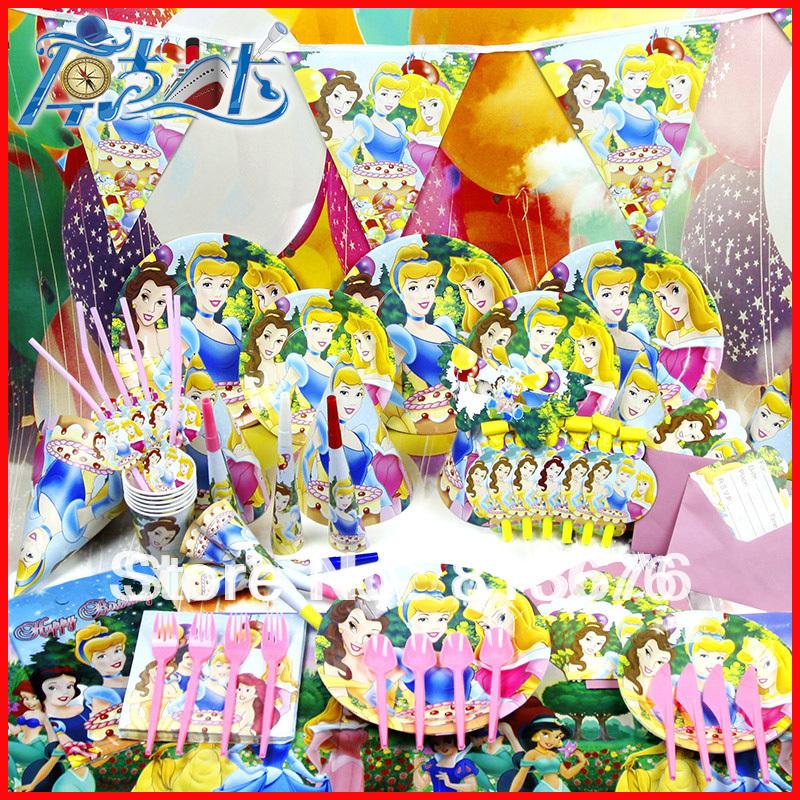 Happy birthday Free shipping 90 pcs birthday party decotation Princesses theme party supply anime birthday party supplies(China (Mainland))