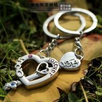 new fashion men women Romantic heart and key couple key chain lovers key ring gift door lock  #K-07