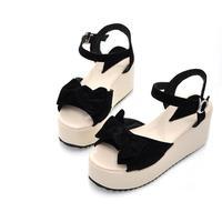 free shipping 2014 women's sandals bow open toe flat heel platform wedges sandals size