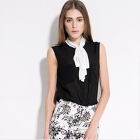2014 Summer NEW!! New Brand High Quality Women Sleeveless Chiffon Shirts