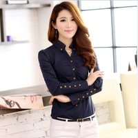 2014 Spring And Summer Women's Fashion Casual Long-Dleeved High-Quality Lapel Slim Solid Polyester Blouses
