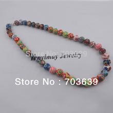 "18"" Fashion Handmade Polymer Clay Beads Necklace 10pcs/Lot Colorful Children's Choker Free Shipping(China (Mainland))"