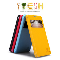 For HUAWEI Honor 3X Octa-core 1.7G 3G Nillkin Fresh Series Flip Leather Case  free screen protector and Shipping