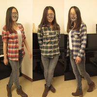 Free shipping Women's Shirt long-sleeve autumn 2014 women's outerwear  slim plaid shirt clothing female