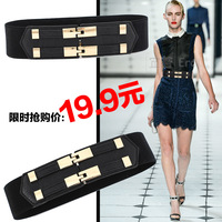 Women's personality strap double buckles all-match fashion women's cummerbund trench down all-match wide belt waist decoration