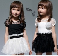 C-1 31024 female child black and white short-sleeve princess one-piece dress flower girl formal dress short-sleeve tulle dress