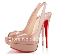red bottom Lady Peep Sling 140 Slingbacks Nude colour fashion party dress women shoes