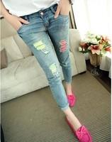 cotton hole plus size casual denim  pants women capris jeans new fashion 2014 spring summer autumn drop shipping