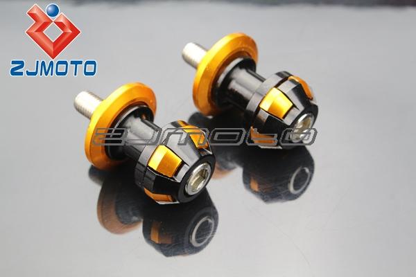 Motorcycle CNC 10mm stands Swingarm Spool Slider Bobbin For Kawasaki Ninja ZX ZRX ZZR ER6 636 Z750 6R 10R 12R 14R Black+gold(China (Mainland))