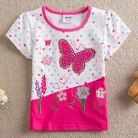One Pcs!NEAT Kids 2014 new free shipping Diamond butterfly baby girls short sleeve t-shirts children clothing kids wear S2132#