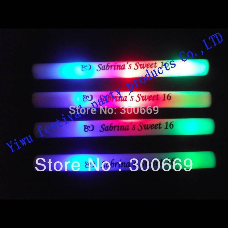 100pcs/ 1 lot Free Shipping Colourful Led Foam Stick customized logo available Flashing Glow Sticks Wholesale Price-in Event(China (Mainland))