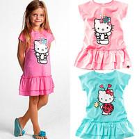 2013 kids girls dress new summer dress Hello Kitty children's clothing cartoon cute girl dress KT cat wholesale retail free ship
