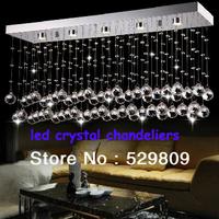 Free shipping wholesale hot sales rectangle k9 led chandelier modern lustre crystal lighting for dinning room and bar