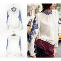 Retro Women Chiffon Shirt Porcelain Print Long Sleeve Blouse Tops Blue and White