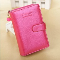 new arrival fashion women lady classic Simple buckle lovely purse clutch wallet medium bag PU card holder gift
