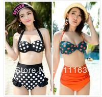2014 New Arrives Hot Pop Dots Padded Cutest Retro Swimsuit Swimwear Vintage Pin Up High Waist Bikini Set S/M/L/XL