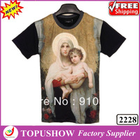New 2014 Summer Fashion 3D Short Pullover T shirt  Virgin/Tiger  Printed T-shirts Men Causal Top Tee Plus Size Free Shipping