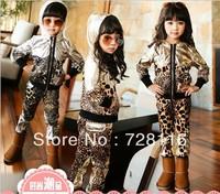 (5 pieces/lot) Boys girls leopard-print suit children, children hooded fashion leisure leopard suits