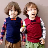 New Hot Children t Shirts Spring Autumn Boy t-shirt Short Full Sleeve England Style Cotton 2014 Girl Clothing Basic UnderWear