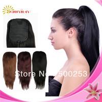 Sunnymay human hair grade 6a Indian virgin human  hair drawstring ponytail straigt 100g