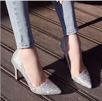 Fashion 2014 spring sexy  toe high-heeled shoes thin heels single shoes female trade princess shoes ding shoes