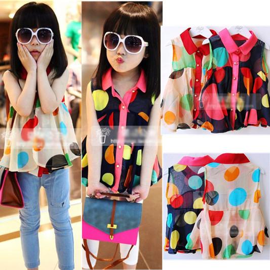 Kids Girls Chiffon Shirt Girls baby clothes colored circles Korean new
