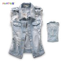 2014 spring fashion street lace patchwork denim vest distrressed kaross denim outerwear female jacket,free shipping