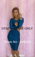 Free Shipping 2014 new fashion women bodycon patchwork bandage mesh dress sexy club/party/evening A0131s,m,l