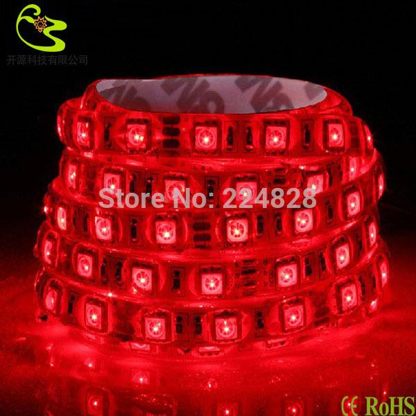 Free shipping(10/lot) 5050 flexible led strip light 12V DC/AC 30led 5050 waterproof 150led 5m red led strip light(China (Mainland))