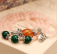 2014 FREE SHIPPING FASHION WOMEN JEWELRY,fine pink rose quartz multi layer lucky spring elephane bracelet(MIN.ORDER$15)