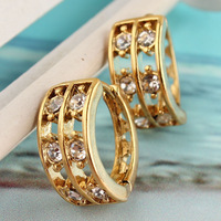 Free Shipping Beautiful Women 14k Gold Filled Sparkle Austrian Crystal Environmental Hoop Earring Fashion Jewelry Gift CB0870