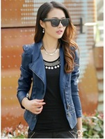 6544  fashion Spring 2014 Korean version of the new women's leather jacket was thin Slim PU leather female leather large size