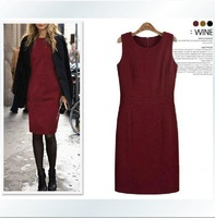 2014 new women fashion dress wool sleeveless tank dress 3 colors full size S-4XL