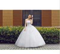 Princess bride flower tube top wedding dress formal dress new arrival 2014 spring and summer white strap yarn