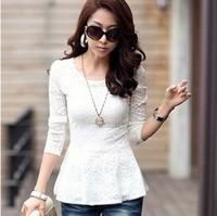 free shipping 2014 Korean version of the new women's long-sleeved T-shirt oversized stretch lace shirt Slim primer shirt Women