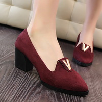 981402 Women Spring Vintage Shoes Elegant Slip-on High Heel Shoes Women Oxford Shoes